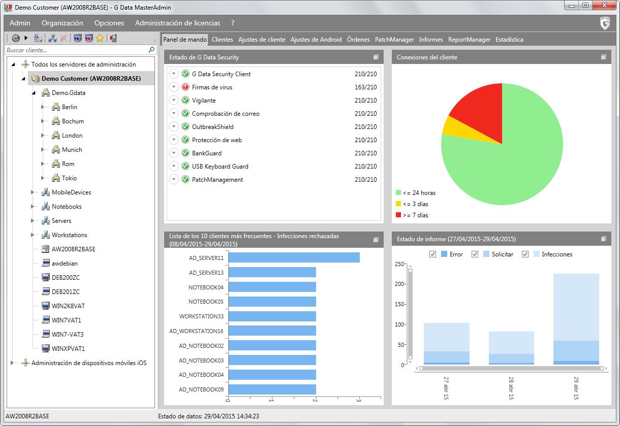 Consola de gestión centralizada G Data