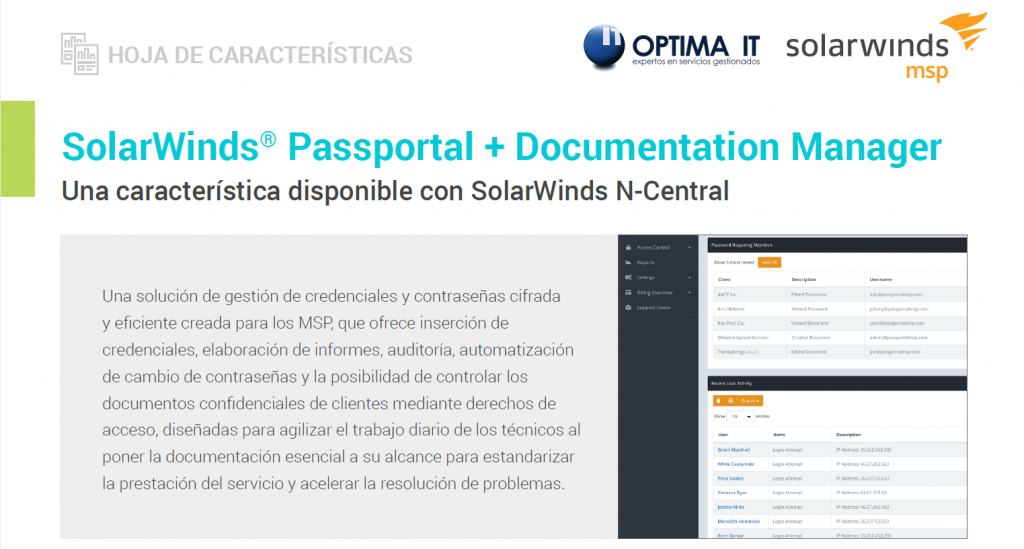 SolarWinds MSP passportal - Optima IT
